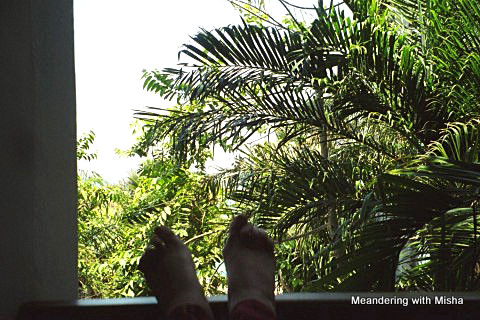 A view of my toes overlooking the balcony of our room in Zanzibar