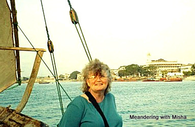 Michelle enjoying the cruise with Stone Town in the background