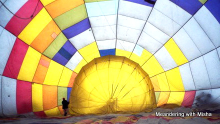 Inside the balloon after landing