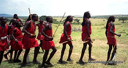 Masai warriors (Moran) welcome us to their village