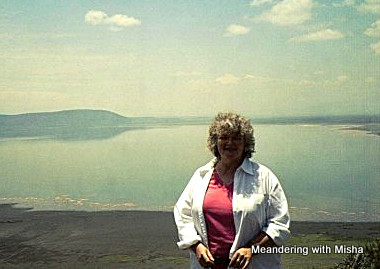 Michelle with Lake Nakuru and flamingoes in the background