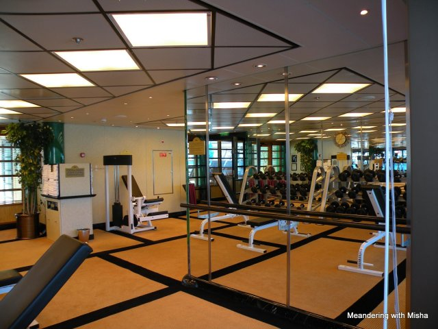 The ship has a gym for working off all the wonderful food